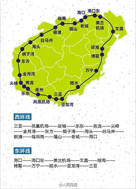 海南环岛高铁旅游路线图沿线旅游景点美食推荐介绍